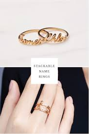 rings with children s names stackable name ring font set 1 3 rings gifts ring