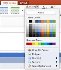 Change Table Color Add Or Change The Fill Color Of A Table Cell Powerpoint For Mac