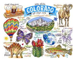 Colorado Travel Symbols images Colorado print state symbols rocky mountains the centennial jpg