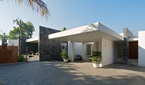 bungalow house design with terrace terrace design at minimalist house in baroda india by atelier dnd