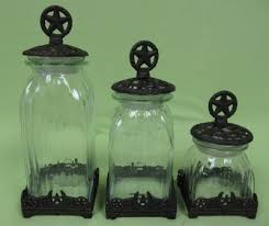 western kitchen canisters western canister set of 3 cast iron base top clear glass