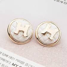 h earrings hermes classic gold plated h woven back button style white