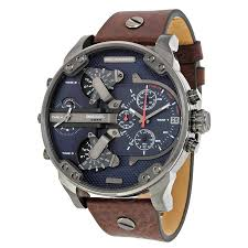 watches for men diesel mr daddy dual time chronograph navy blue dial leather men u0027s
