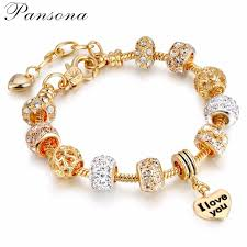 gold bracelet with heart charms images Pansona 925 crystal heart charm bracelets bangles gold bracelets jpg