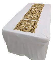 3xbeige runner home decor table cover hand beaded mat net sequins