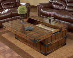 Luxury Leather Sofa Set Furniture Distinctive Large Sized Wooden Trunk Coffee Table