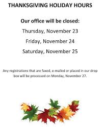 thanksgiving hours office closed november 23 24 25