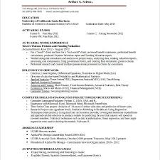 Actuarial Resume Example by Actuarial Intern Resumes Actuary Trainee Cover Letter Free