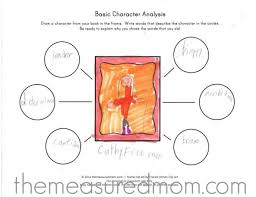 free character analysis worksheet for kids the measured mom