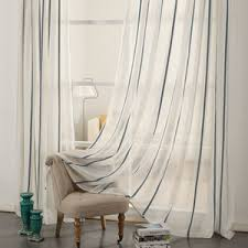 Striped Linen Curtains Gray Striped Modern Sheer Window Curtains