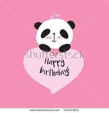 greeting card little cute panda heart stock vector 572441653
