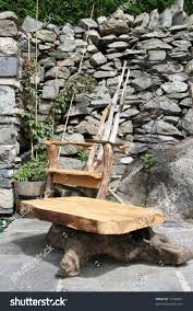 hand made wooden garden furniture chair stock photo 71098261