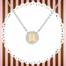 necklace with letter r in gold nomination