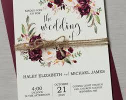 wedding invitations etsy marsala wedding etsy