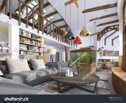 Big House Design Interior Livingroom Loft Style Maisonette Modern Stock