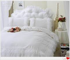 luxury snow white lace bedspread princess bedding set queen king size 4pcs comforter duvet cover bed skirt bedclothes cotton home textile