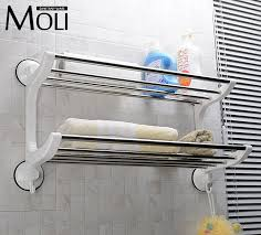 Suction Shelf Bathroom Plastic Stainless Steel Towel Holder Suction Cup Towel Rack With