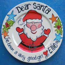 stix and stones baby handpainted plate santa plate