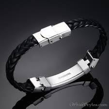 leather black bracelet images Black leather stainless steel wire bracelet vn662275br wrist jpg