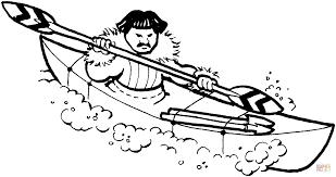 eskimo hunter on kayak coloring page free printable coloring pages