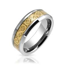 celtic mens wedding bands tungsten celtic inlay flat comfort fit wedding band