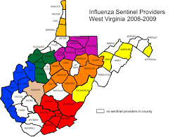 West Virginia Counties Map by 2007 2008 Influenza Surveillance