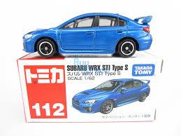 subaru blue takara tomy tomica 112 subaru wrx sti type s blue scale 1 62