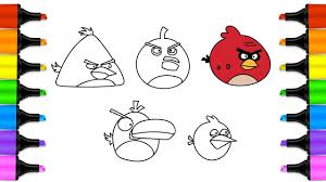 how to draw angry birds art colors for children angry birds