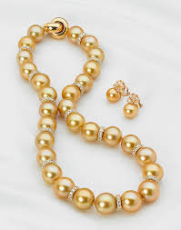 gold pearls necklace images 12mm to 14mm golden diamond rondell necklace american pearl jpg