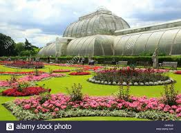 Royal Botanic Gardens Kew by The Palm House At Royal Botanic Gardens Kew London England Uk