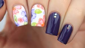 watercolor floral nail art tutorial youtube