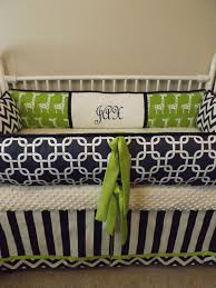 Navy And Green Nursery Decor Navy Chevron And Lime Giraffe Baby Bedding Crib By Abusymother