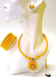 jewelry necklace rings images Yellow silk threaded ring necklace jewellery set bangles jpg