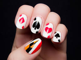 off with their heads queen of hearts nail art chalkboard nails