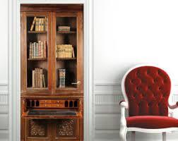 Mahogany Effect Bookcase Bookcase Decal Etsy