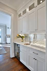 Brick Tile Backsplash Kitchen White Butler Pantry With Stainless Steel Mini Brick Tile