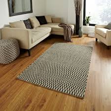 Large Modern Rug by Sonic Wave Effect Optical Illusion Large Floor Mat 100 Wool Hand