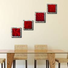 4 squares red red u0026 silver set of four 12