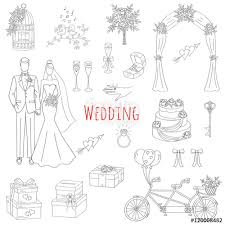 vector set of hand drawn wedding icons bride groom wedding cake