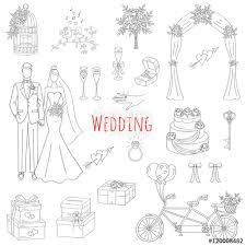 vector set of hand drawn wedding icons bride groom wedding cake
