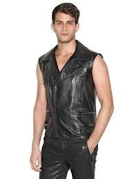 leather biker vest belstaff