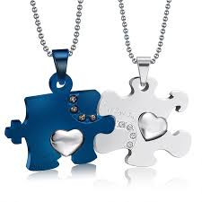 couples puzzle heart necklace images Stainless steel puzzel heart couple necklaces jpg