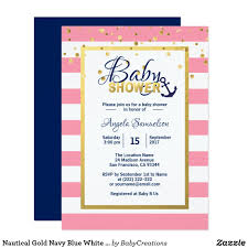 All White Baby Shower Invitations Nautical Gold Navy Blue White Pink Baby Shower Card Elegant And