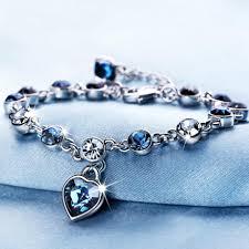 silver crystal heart bracelet images Beautiful heart shaped crystal shaped silver bracelet katha jewels jpg