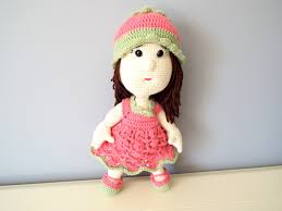 crochet pink doll kids toys baby shower home decor knitted doll