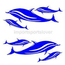 body exterior styling car tuning styling men 2pcs dolphin decals stickers for kayak canoe fishing boat car wall graphics