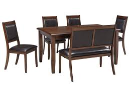 signature design by ashley meredy 6 piece dining room table set signature design by ashley meredy 6 piece dining room table set with bench john v schultz furniture table chair set with bench