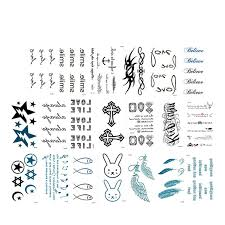 20pcs waterproof temporary tattoos sticker black words feather