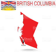 Map Of British Columbia Canada by Canadian Province Of British Columbia Map And Flag In Red Stock