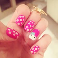 hello kitty nails cute hello kitty u0026 dots nails pictures photos
